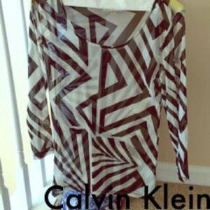 Calvin Klein Tops - Calvin Klein Vertigo Pattern Stretch Top