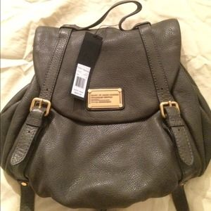NEW! MARC JACOBS CLASSIC Q GREY LEATHER BACKPACK