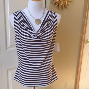 Calvin Klein Black/White Stripes Cowl Neck Tank
