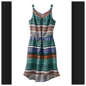 NWOT Merona multi color striped hi-low dress