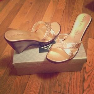 Gold Wedge Sandals Handmade in Italy