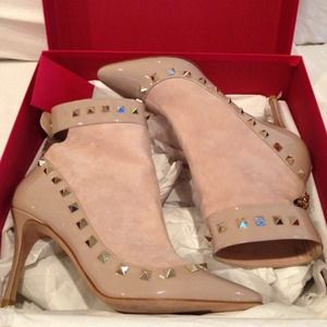 Valentino Shoes - Valentino studded patent and suede bootie