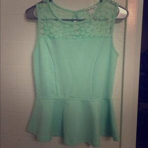 Ambiance Apparel Tops - ❌Not available❌ Mint peplum lace top