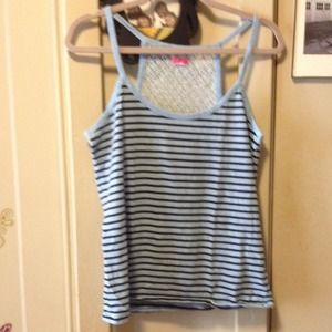 Urban Outfitters Tops - LUX Lattice Back Blue Striped Tank SOLD!