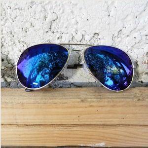 Accessories - Blue Multi Colored Aviator Sunnies