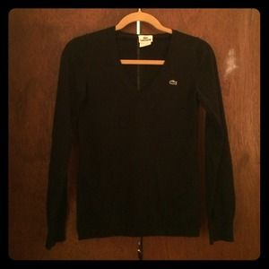 Black V neck Lacoste sweater