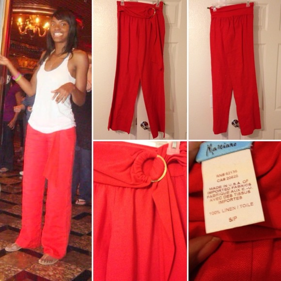 Marciano - Coral linen pants with gold ring belt from ...
