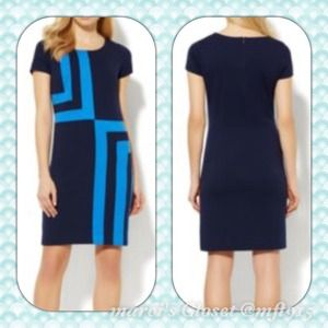 GEO SHAPES DRESS IN SAPPHIRE NWT