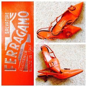 Ferragamo Shoes - ❤️ Salvatore Ferragamo Orange Kitten Heels ❤️