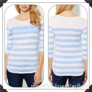Lace and Striped Top in Blue NWT