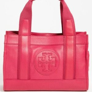 tory burch mini tory tote leather magenta