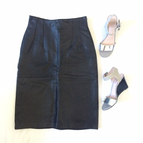 vintage Dresses & Skirts - Vintage High-Waisted Black Leather Skirt