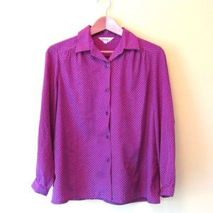Vintage Geometric Print Purple Pink Blouse