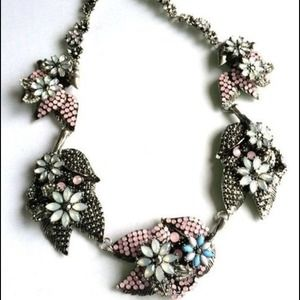 Statement necklace crystals and beads flowers