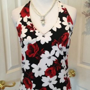 Red, black and white floral halter