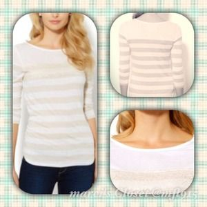 Lace and stripped top on beige NWT
