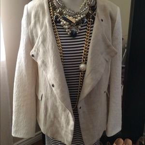 Zara waterfall jacket with jacquard sleeve