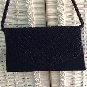 Black Beaded Clutch with Beaded Handle