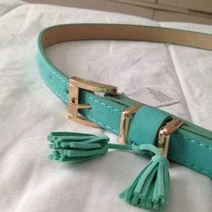 Teal fringe belt