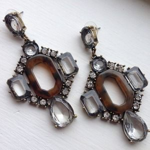 Tortoise shell crystal chandelier earrings