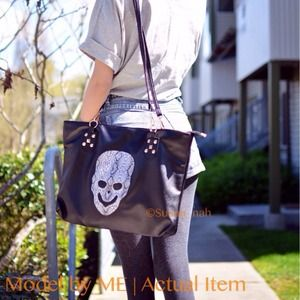 Soft leather skeleton shoulder bag