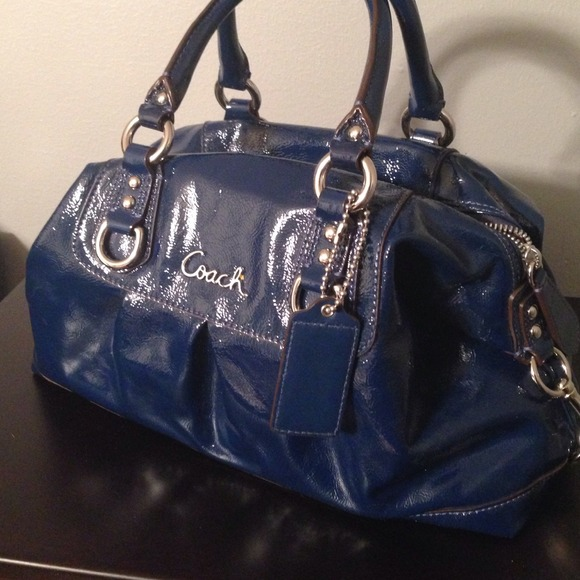 64% off Coach Handbags - Coach Patent Leather Navy Blue Satchel ...