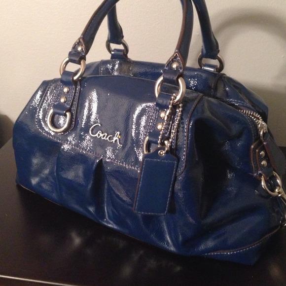 5f544503c6 Coach Handbags - Coach Patent Leather Navy Blue Satchel