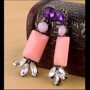 Pink purple lavender earrings crystal chandelier