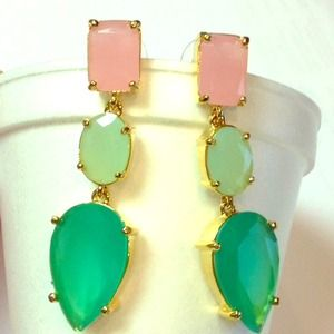 Kate Spade Gum drop gems earrings pink mint green