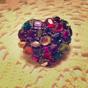 Heart multi colored ring
