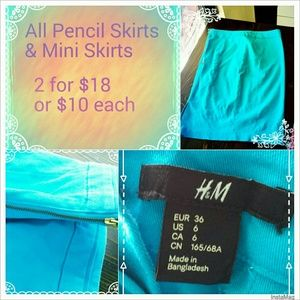 Dresses & Skirts - BRIGHT BLUE H&M PENCIL SKIRT