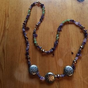 Jewelry - Purple and green silver long necklace