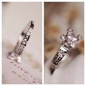 Eiffel Tower love crystal ring