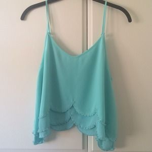 Scalloped Beaded Blue Top