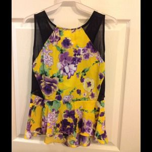 Yellow and Orchid Peplum Top