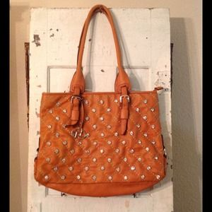 Burnt orange and rhinestone tote bag