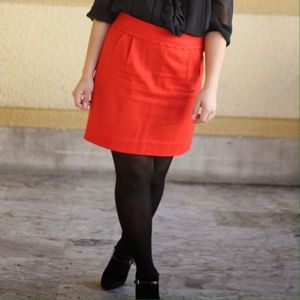 Red J.Crew Pencil Skirt