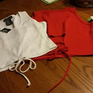 MIDRIFF TOPS, SET OF 2, RED AND WHITE, LARGE
