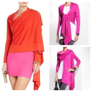BCBG MAXAZRIA Silk Red Draped Cardi NEW LISTING