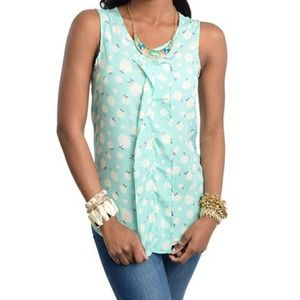 Mint Blue Floral Sleeveless Blouse