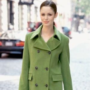 OLD NAVY Green Double Breasted 8 Button Pea Coat