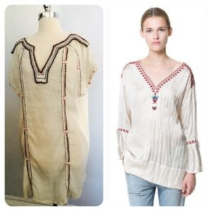 Zara Dresses & Skirts - zara // embroidered tunic • cream & red