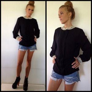 80s vintage lace collar blouse