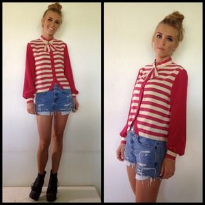 vintage candy striper crop blouse w bow