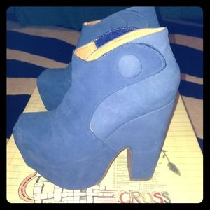 Jeffrey Campbell WHAT Blue Suede Boots Size 5