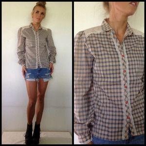 vintage western plaid girly shirt