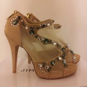 Stunning Jimmy Choo jeweled mesh suede heel