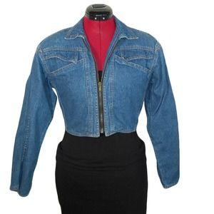Vintage Sostanza Moto Cropped Jean Denim Jacket