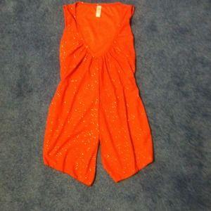 Tops - Orange glitter tank with tieback