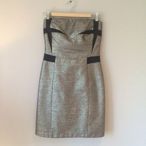 SEE by Chloe metallic strapless dress